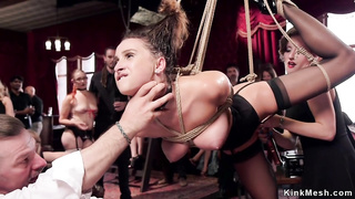 Bound on Sybian slave gets fucked