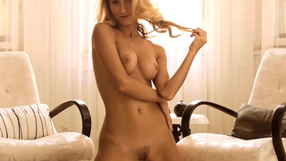 Cougar model blonde Cara Mell stripping and posing
