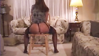 Hot Milf Riding Dildo On The Chair