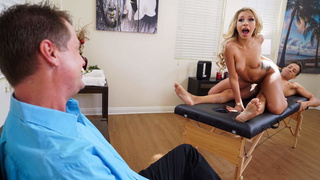 Masseur bangs wife while husband watches