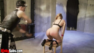 Slave enjoys pussy and breast torture