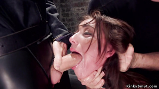 Gagged trainee fucked by huge dick