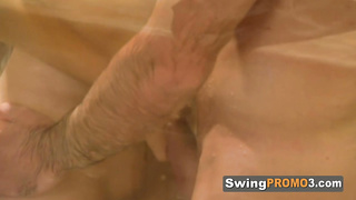Shower sex with swinger before an orgy