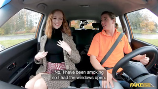 Redhead Distracts with no bra on (2019) Ricky Rascal, Lenina Crowne - Fake Hub, Fake Driving School
