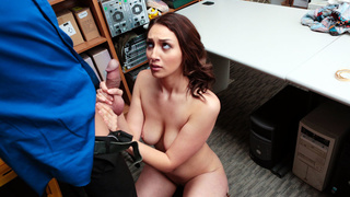 Officer fucks busty thief in his office