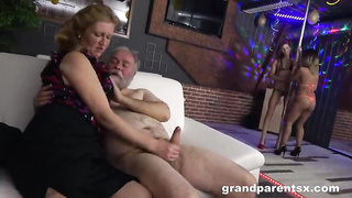Grandfather Learning Two Young Strippers How To Fuck