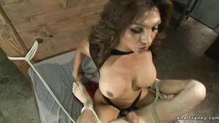 Huge tits shemale bangs tied man