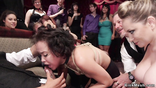 Slave and mistress fucked in group