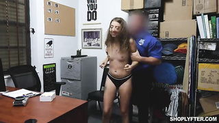 Sexy young thief gets fucked by the security officer - Ava Eden