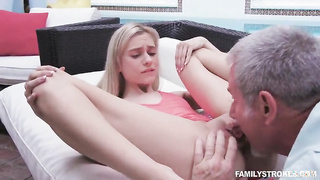 Young babe have sex with grandfather