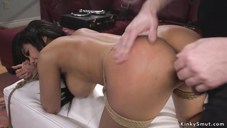 Tied huge tits Latina is rough banged