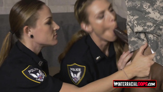 Black soldier is fucking with two MILFs