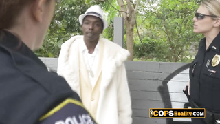 Black criminal is arrested by two MILFs