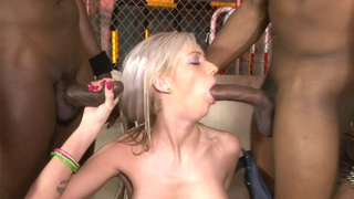 Pretty blonde slut swallowed some huge black dicks