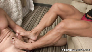 Muscle Woman Footjob