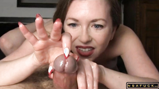 Huge dick perfect handjob by milf slut