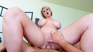 POV fucking busty MILF client during massage