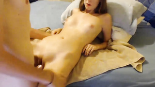 Skinny small tits brunette get her tight shaved pussy fucked live at sexycamx