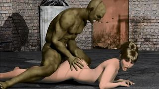 3D Porn Big Green Orc raped sexy brunette girl on the street