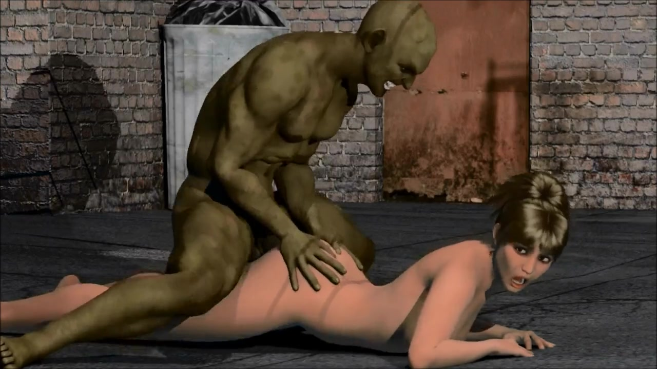 3d porn big green orc raped sexy brunette girl on the street3d