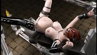 Man drills chained redhead whore