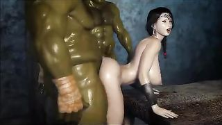 3D Orcs from World Of Warcraft XXX SFM Fucked Big Breasted Brunette