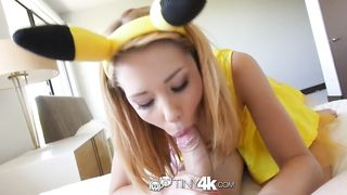 TINY4K - POKEMON GO BLONDE RAYLIN ANN CATCHES AN UNEXPECTED DICK -  Raylin Ann