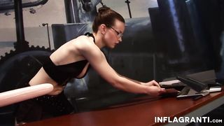 Inflagranti - Brunette with glasses enjoys using sex toys