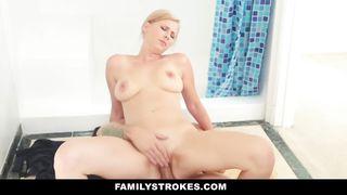Family Strokes - Blonde Milf Fucks Step-Son In Shower HD [720p]