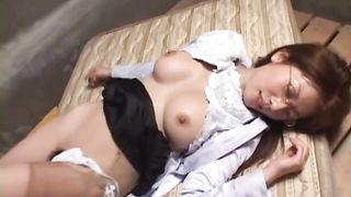Japanese MILF in glasses and shirt loves to lick and suck a hard cock