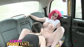 [Female Fake Taxi] Horny busty babes in taxi lesbian backseat orgasms - Roxi Keogh