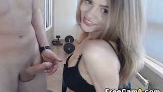 Gorgeous College Babe Giving a Titty Job