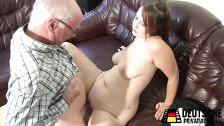Amateur Busty MILF Fucks with old man