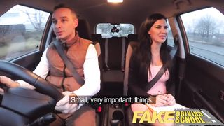 Fake Driving School - Threesome MMF in a Car HD 720p