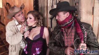 Dona Bell retro prostitute mmf threesome double fuck