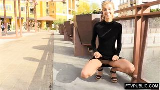 Teen Blonde In Tight Black Dress Show Pussy