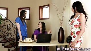 Blindfolded lesbian massage
