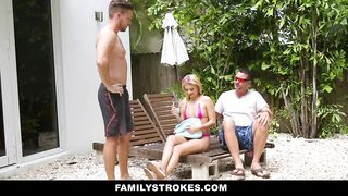 Family Strokes - Hot Blonde Step Cousin Tempts Father and Son - Riley Star