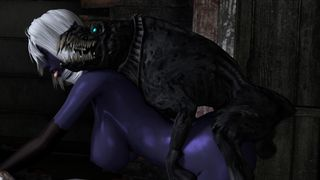 Ugly monster fucked busty blue alien girl