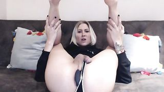 Super Hot Big Tits Blonde Plays Her Huge Cock