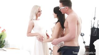 TeenMegaWorld.net - Michelle Can and Stefy Shee - Awesome Threesome With Bride and Her Bridesmaid