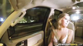 Blonde teenager gets fucked in the back seat