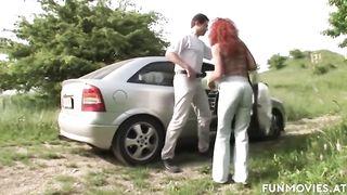 FUNMOVIES - Busty German Moms fuck in public park