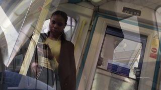 Sexy British Girl Flashing Upskirt on a Train in London