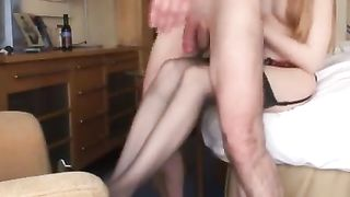 English amateur redhead at airport hotel
