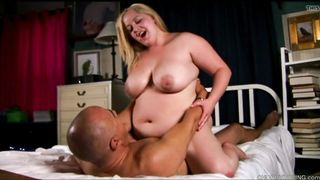 Beautiful big tits blonde BBW enjoys a hard fuck & a facial
