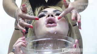 Premium Bukkake - Alina Swallows 65 Huge Mouthful Cum Loads