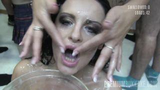 Premium Bukkake - Lola Swallows 52 Huge Mouthful Cum Loads
