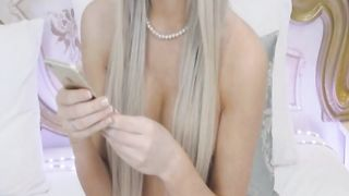 Beautiful Blonde Tranny Plays with Her Dildo
