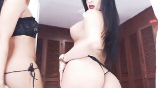 Two Latina Trannies Strip and Tease